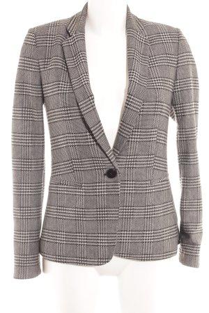 Mango Suit Kurz-Blazer hellgrau-schwarz Glencheckmuster Business-Look