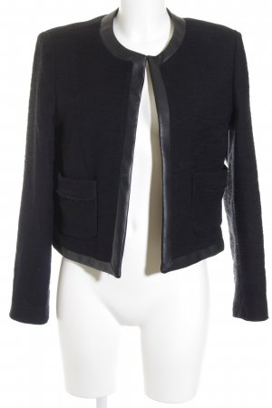 Mango Suit Kurz-Blazer schwarz Materialmix-Look