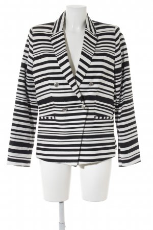 Mango Suit Short Blazer black-natural white striped pattern extravagant style