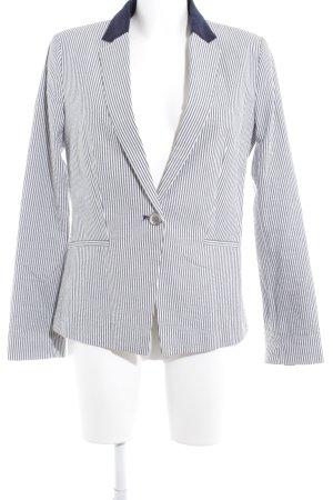 Mango Suit Kurz-Blazer wollweiß-dunkelblau Streifenmuster Business-Look