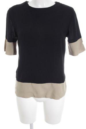 Mango Suit Kurzarm-Bluse schwarz-beige klassischer Stil