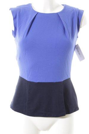 Mango Suit Kurzarm-Bluse schwarz-blau Elegant