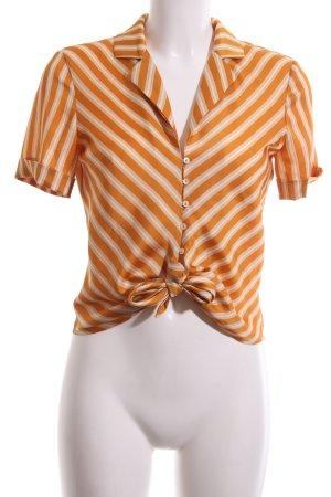 Mango Suit Kurzarm-Bluse Streifenmuster Casual-Look