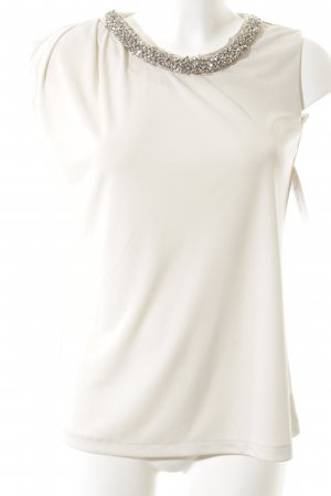 Mango Suit Kurzarm-Bluse wollweiß Elegant