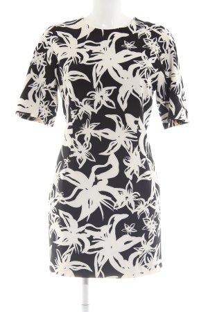 Mango Suit Kurzarmkleid schwarz-weiß Allover-Druck Business-Look