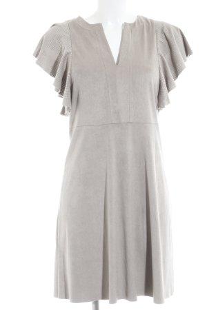 Mango Suit Kurzarmkleid beige Punktemuster Paris-Look