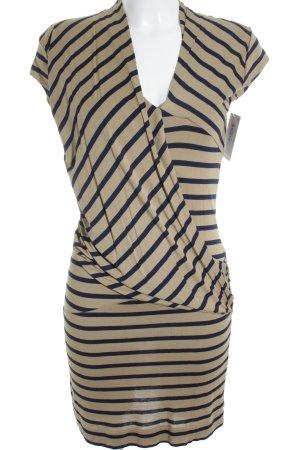 Mango Suit Kurzarmkleid camel-dunkelblau Streifenmuster klassischer Stil