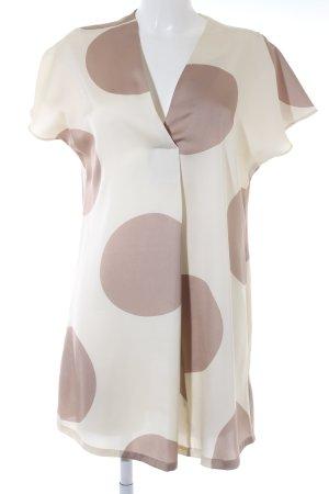 528a569125f Mango Suit Kurzarmkleid creme-beige abstraktes Muster Elegant