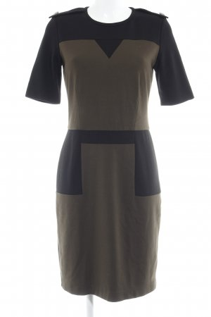 Mango Suit Kurzarmkleid khaki-schwarz Elegant