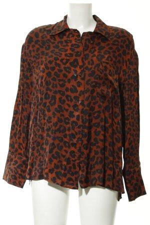 Mango Suit Langarm-Bluse schwarz-braun Leomuster Animal-Look