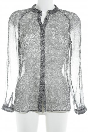 Mango Suit Langarm-Bluse schwarz-weiß florales Muster Elegant