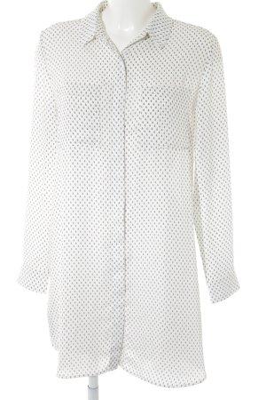 Mango Suit Langarm-Bluse weiß-schwarz Allover-Druck Casual-Look
