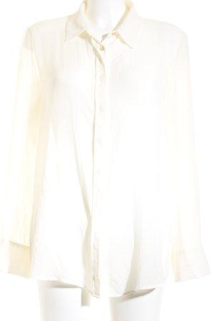 Mango Suit Langarm-Bluse wollweiß Transparenz-Optik