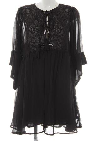 Mango Suit Langarmkleid schwarz abstraktes Muster Elegant
