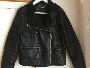 Mango Suit Lederjacke mit Struktur Schwarz Gr. M