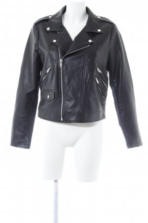 Mango Suit Lederjacke schwarz Biker-Look