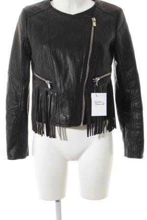 Mango Suit Lederjacke schwarz Casual-Look