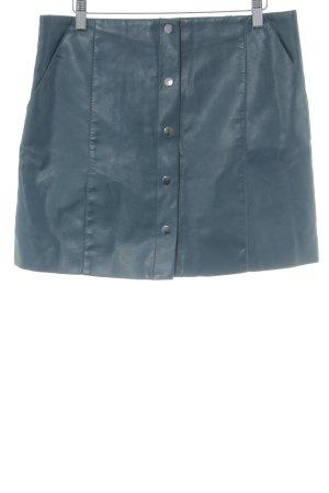 Mango Suit Falda de cuero petróleo look casual