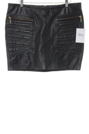 Mango Suit Falda de cuero negro look casual