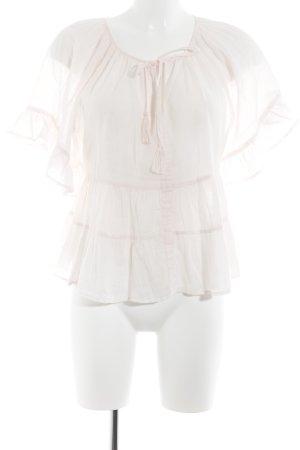 Mango Suit Blusa de lino rosa claro estilo romántico