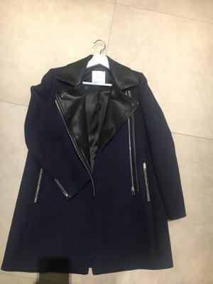 Mango Suit Mantel dunkelblau Leder neu NP 99,95