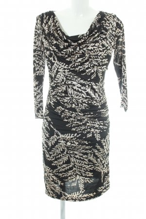 Mango Suit Mantelkleid schwarz-wollweiß florales Muster Elegant