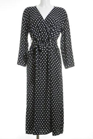 Mango Suit Maxikleid weiß-dunkelblau Punktemuster 50ies-Stil