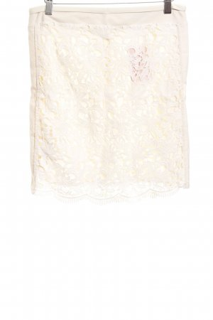 Mango Suit Falda midi crema Apariencia de encaje