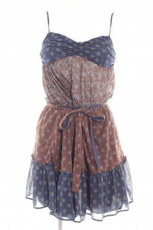 Mango Suit Minikleid braun-blau abstraktes Muster Boho-Look