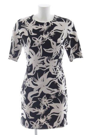 Mango Suit Minikleid schwarz-weiß Blumenmuster Elegant