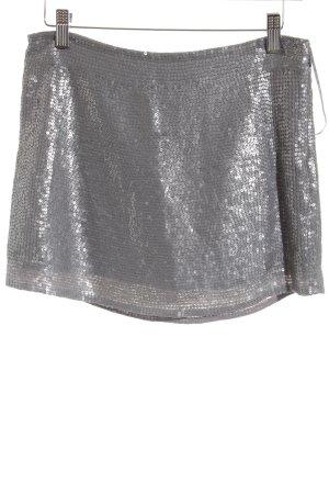 Mango Suit Minirock silberfarben-grau Glanz-Optik