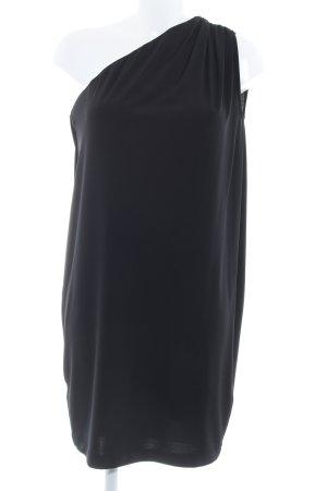 Mango Suit Vestido de un hombro negro elegante