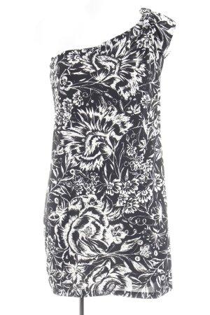 Mango Suit Vestido de un hombro negro-blanco estampado floral elegante