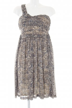Mango Suit One-Shoulder-Kleid wollweiß-stahlblau florales Muster Casual-Look