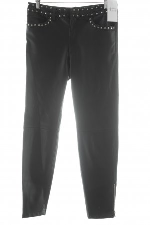 Mango Suit Drainpipe Trousers black-silver-colored biker look