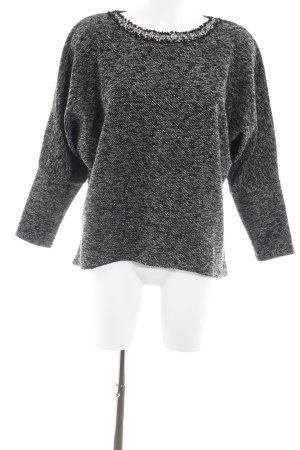 Mango Suit Rundhalspullover schwarz-grau meliert Casual-Look