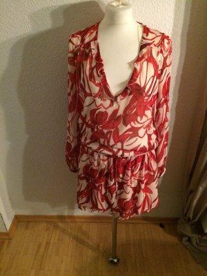 Mango Suit schickes Chiffonkleid weiß mit rotem Muster Gr M neu. Lockere