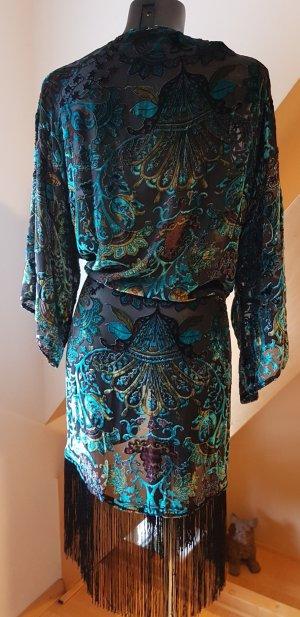 Mango Suit Seide Kimono Transparenz Ausbrenner Samt mit Fransen