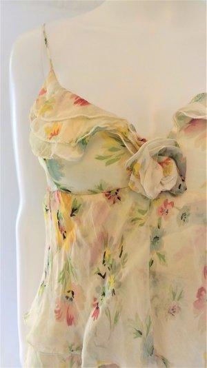 Mango Suit Seidenkleid/Beige/Floralprint/ Gr. S/ wie NEU!