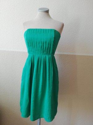 Mango Suit Seidenkleid Seide Kleid Sommerkleid trägerlos Bandeaukleid grün Gr. D XXS 32