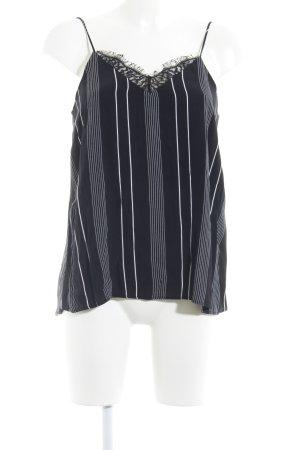 Mango Suit Spaghettiträger Top schwarz-weiß Streifenmuster Casual-Look