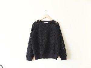 Mango Suit Spitzen Pullover Gr. L 40 schwarz oversize trend