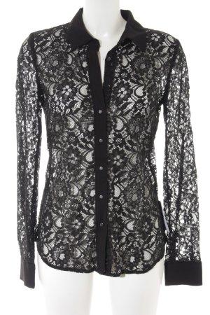 Mango Suit Kanten blouse zwart romantische stijl