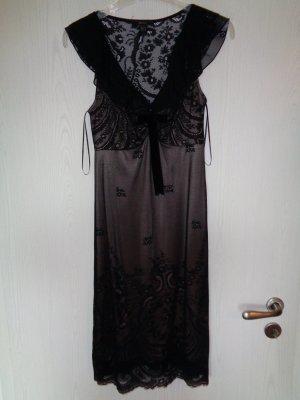 Mango Suit Kanten jurk zwart-goud Polyamide