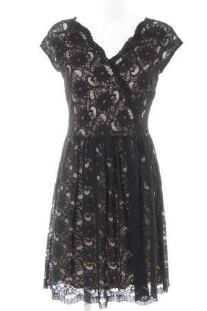 Mango Suit Spitzenkleid schwarz-creme Blumenmuster Elegant