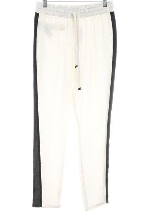 Mango Suit Stoffhose creme-schwarz Street-Fashion-Look