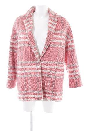 Mango Suit Gebreide blazer baksteenrood-wolwit gestreept patroon zakelijke stijl