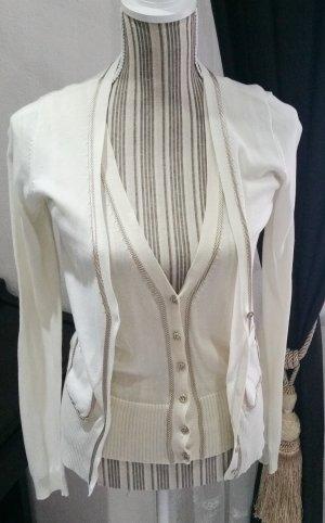 Mango Suit Strickjäckchen Twinset 38 M Baumwolle beige