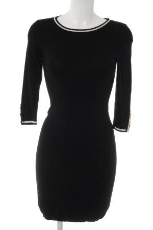 Mango Suit Robe en maille tricotées noir-blanc style extravagant