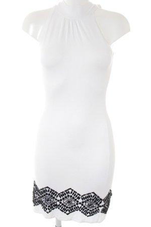 Mango Suit Strickkleid weiß-schwarz Elegant